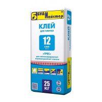Клей-12 для керамогранита и большой плитки, 25кг, БудМастер