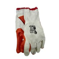 Перчатки хлопок с латексным покрытием белые с красно-зеленым, 75г