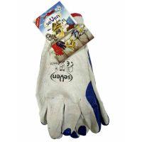 Перчатки хлопок с латексным покрытием белые с синим, 100г