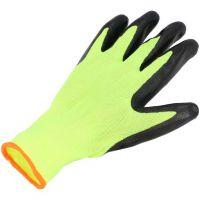 Перчатки нейлон с латексным покрытием желтые с черным, 50г