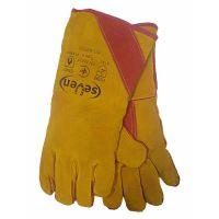 Краги сварщика на подкладке утепленные, желтый с красным, 300г