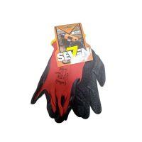 Перчатки нейлон с латексным покрытием красные с черным, 50г