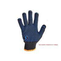 Перчатки черные с синим с точкой ПВХ с 1-ой стороны, 75г